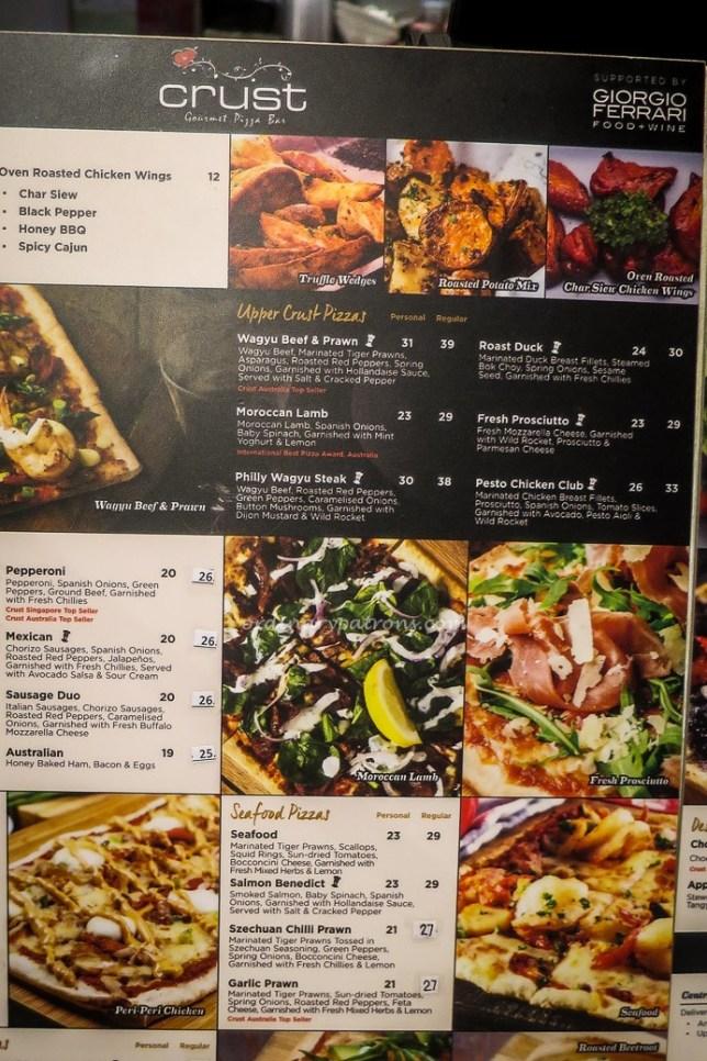 Crust Gourmet Pizza Bar menu