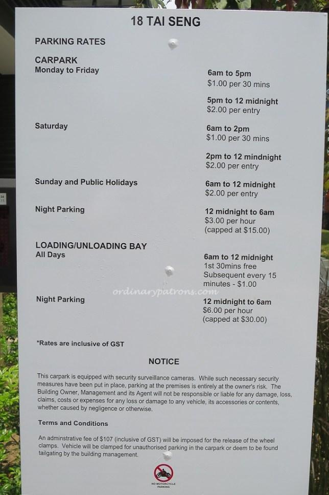 18 Tai Seng Car Park Charges