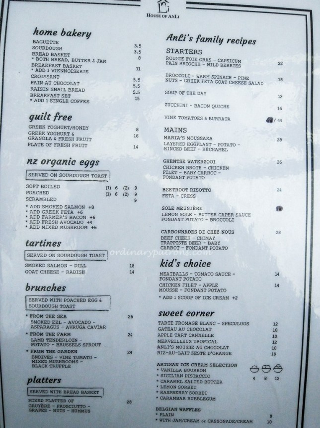 House of ANLI Bistro Menu
