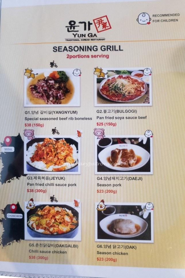 Yun Ga Traditional Korean Restaurant Menu