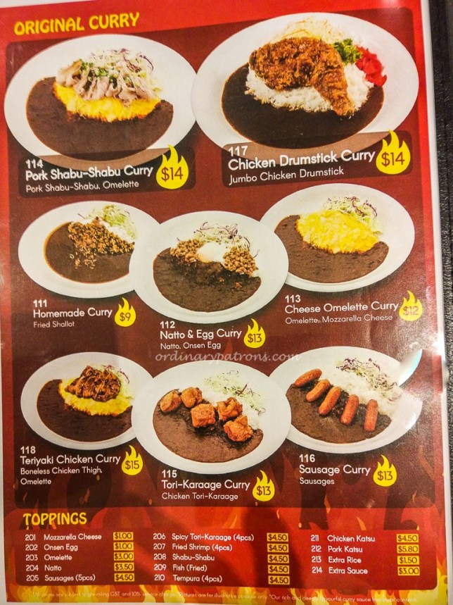 Monster Curry Menu