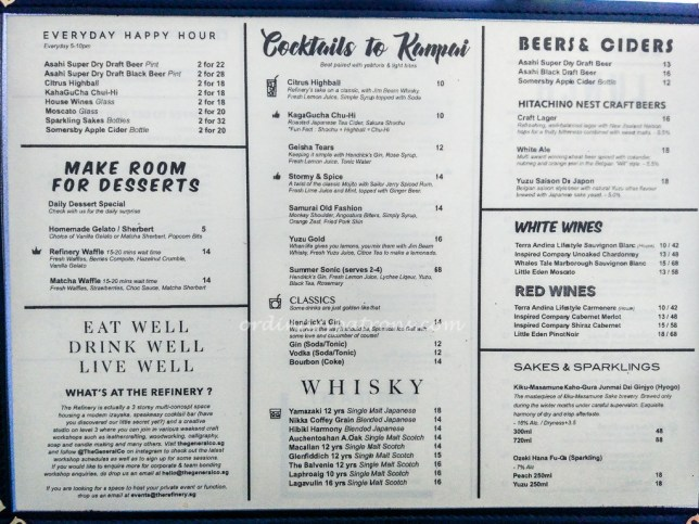 The Refinery Lunch Menu