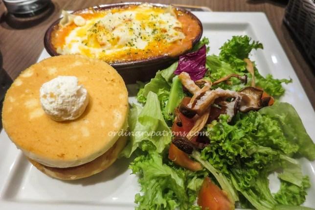 Hoshino Coffee Lasagna and Pancakes