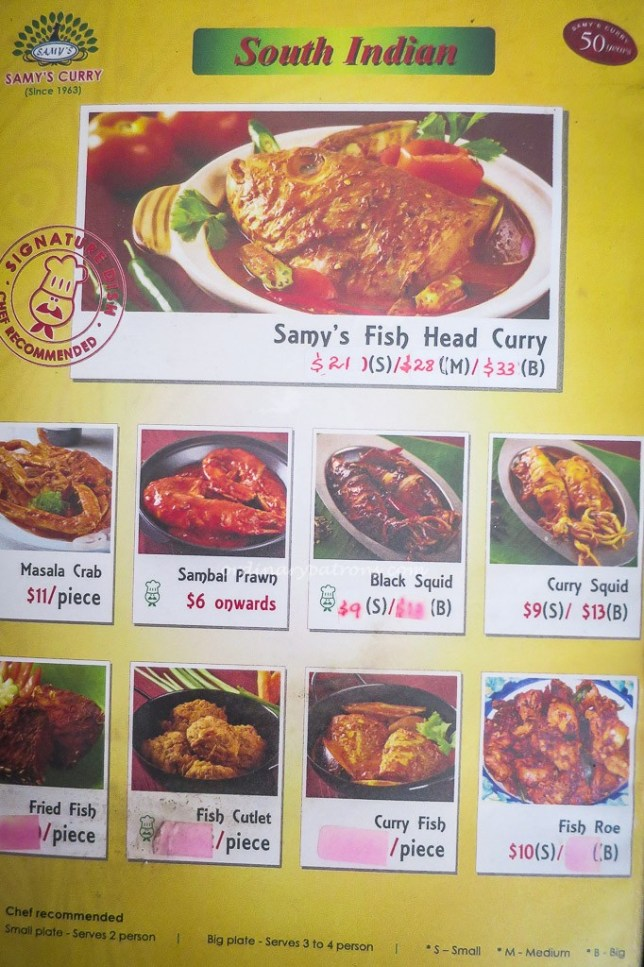Samy's Curry Restaurant Menu