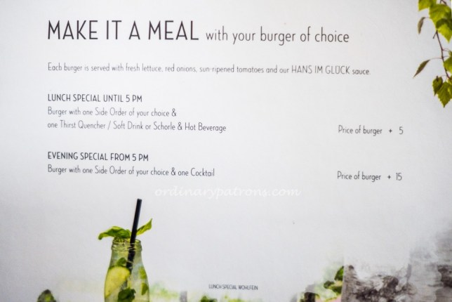 hans im glück Singapore menu