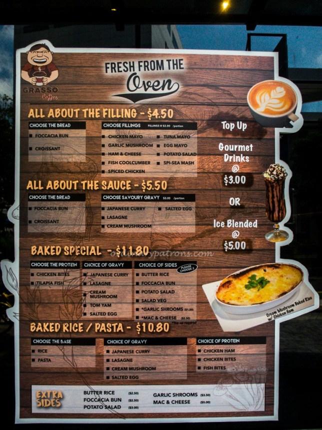 Grasso Cafe Menu