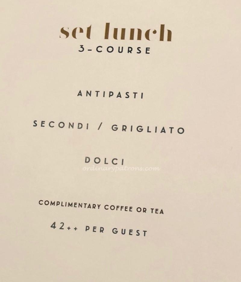 La Strada Ristorante Set Lunch Menu
