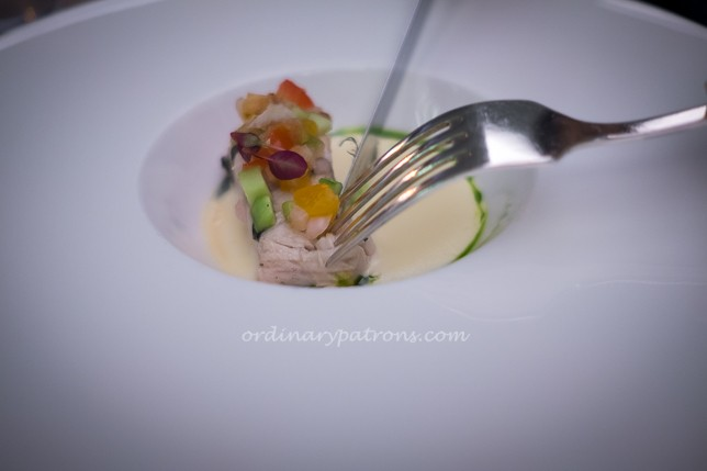 """Hamachi """"in cialletta"""", potatoes, parsley and white wine"""