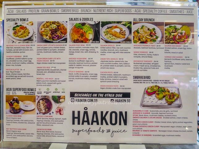Menu of Haakon Superfoods