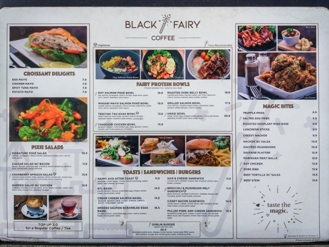 Black Fairy Coffee Menu