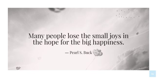 Many people lose the small joys in the hope for the big happiness. Pearl S. Buck