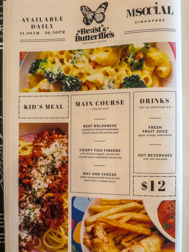 Beast & Butterflies Kids Menu