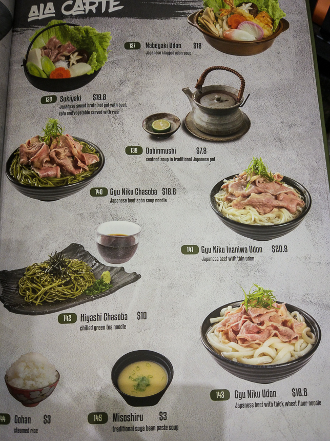 Menu of Makino at Paya Lebar
