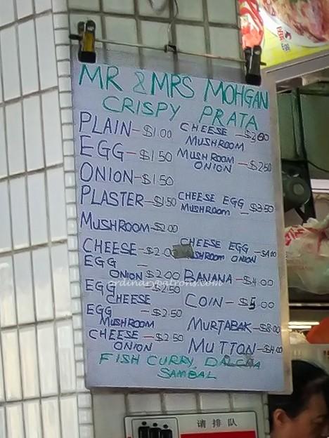 Mr and Mrs Mohgan Prata Menu
