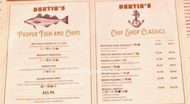 Bertie's Fish & Chips in Edinburgh Menu