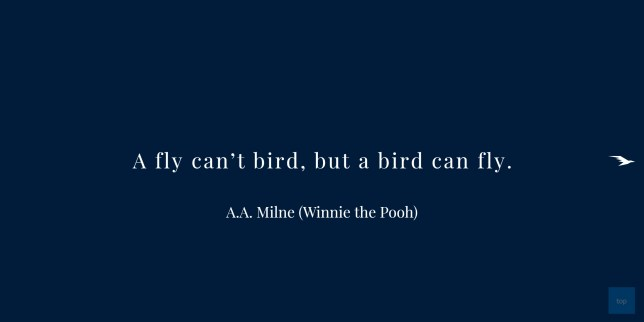 A Fly can't bird, but a bird can fly. A. A. Milne    quote