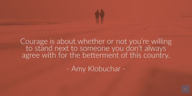 Courage is about whether or not you're willing to stand next to someone you don't always agree with for the betterment of the country. - Amy Klobuchar  quote