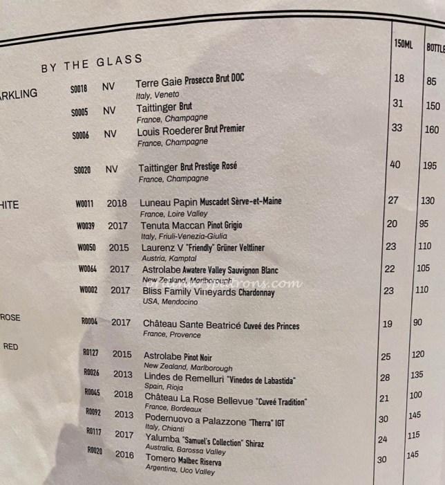 15 Stamford by Alvin Leung Restaurant wine list