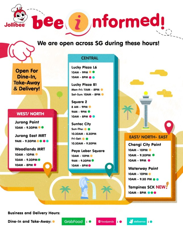 Jollibee Singapore - locations and opening hours