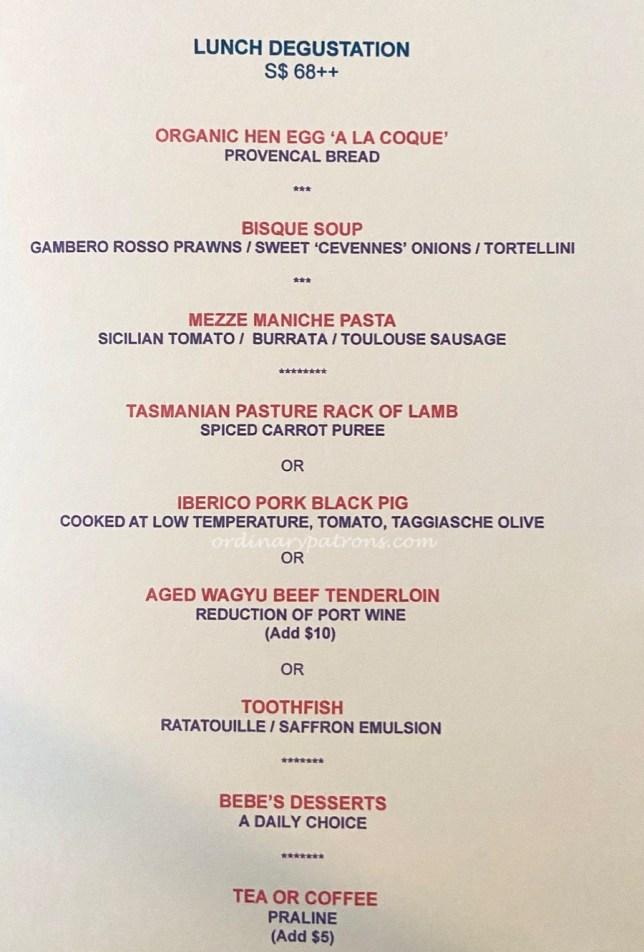 Nicolas Le Restaurant -Lunch menu