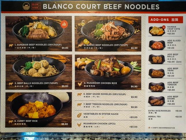 Blanco Court Beef Noodles Menu