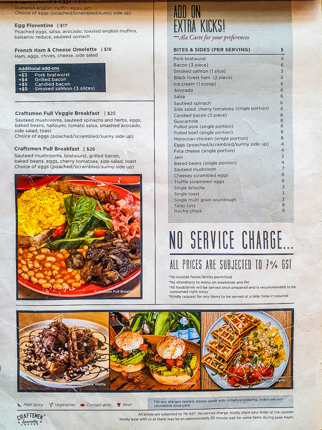 Craftsmen Specialty Coffee Novena Brunch Menu