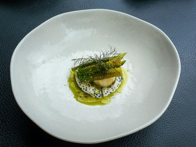 Hokkaido scallop, smoked butter with caviar at V Dining Restaurant