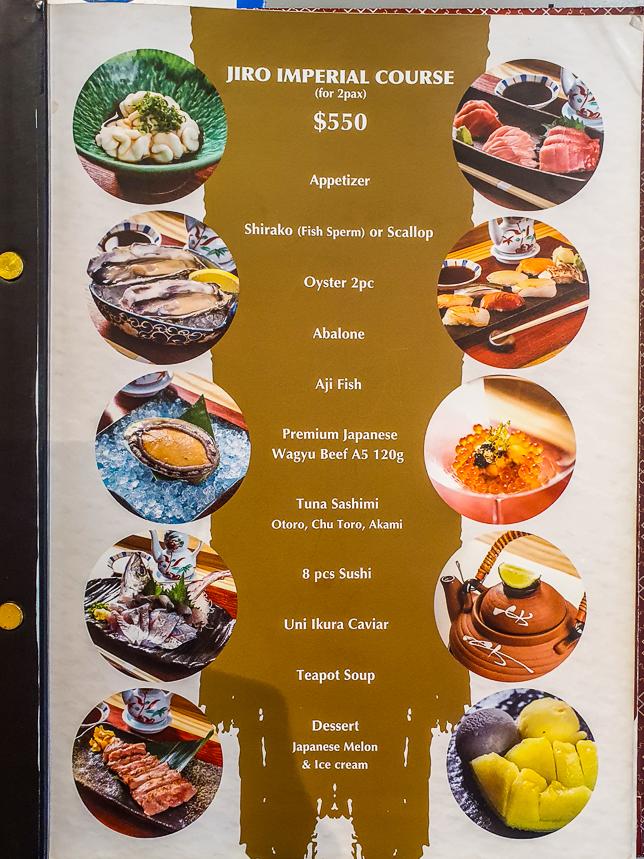Menu of Sushi JIRO @ Parkroyal Collection Marina Bay