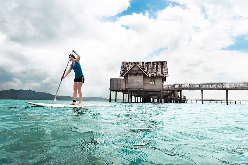 Paddleboarding at Telunas.