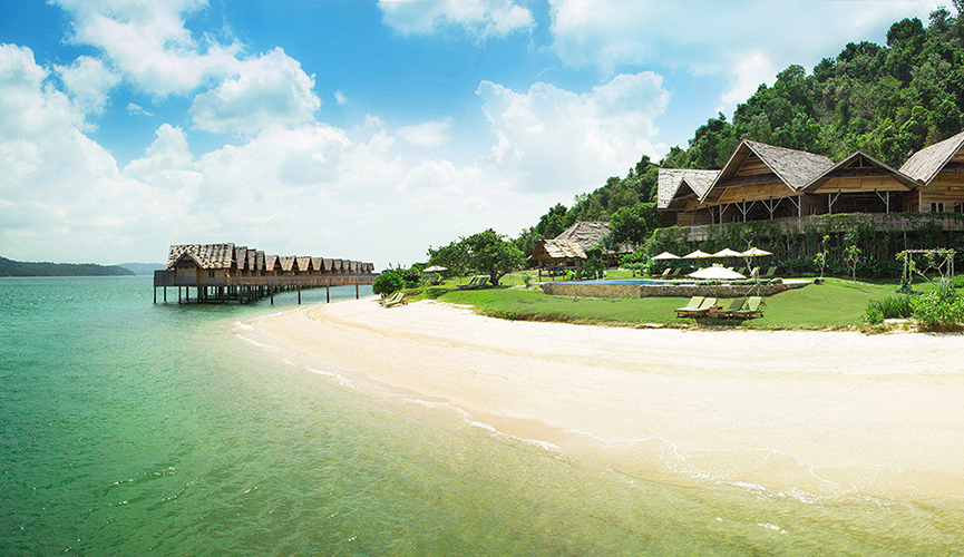 View of the beach at Telunas Resorts.