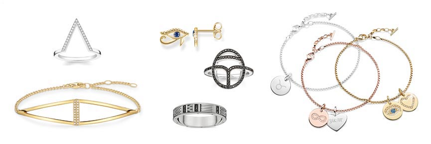 Thomas Sabo jewellery Triangle Diamond bracelet and ring, Nile Treasures studs and rings, reverse engraveable Love Coin bracelets