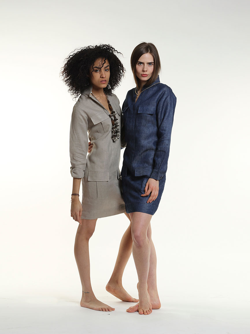 Anna dress and denim linen dress by Guru New York