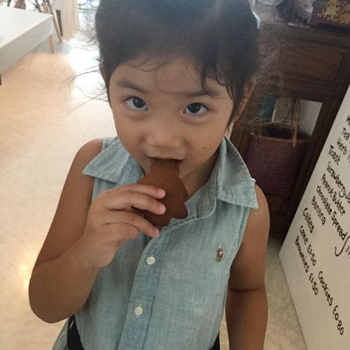 Eating ginger bread cookies