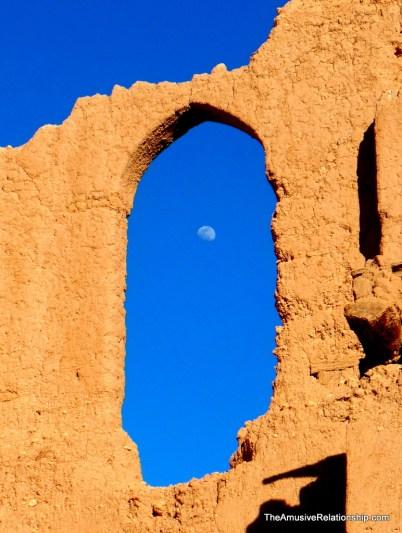 Moon through ancient window