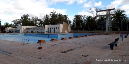An abandoned Olympic pool