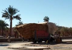 Typically overstuffed hay truck near Erfoud