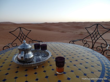 Morning tea at dawn atop a dune
