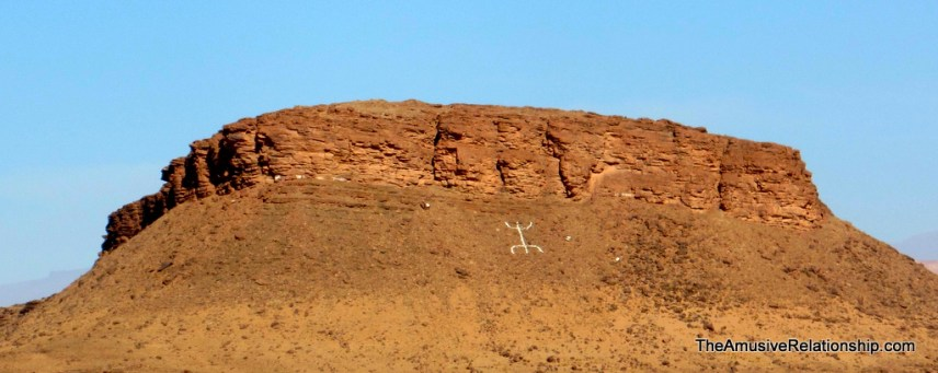 The Amazigh (Berber) symbol on a nearby mountain side