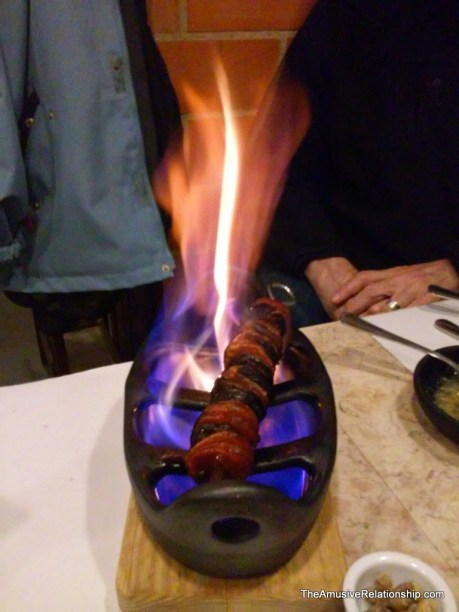 Sausages a la flambé