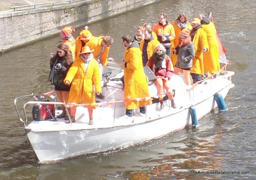 Mid-morning revelers partying in the canals