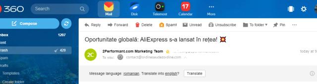 -mail despre AliExpress