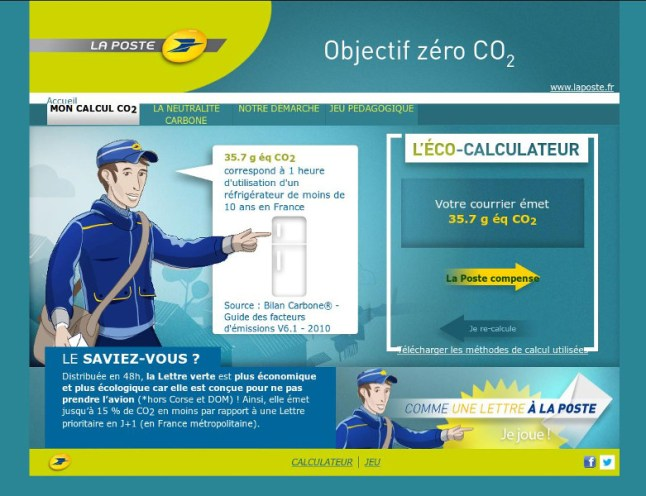 Calculateur d'empreinte carbone de La Poste