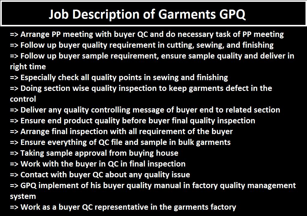 GPQ Job Responsibilities in Apparel Industry - ORDNUR