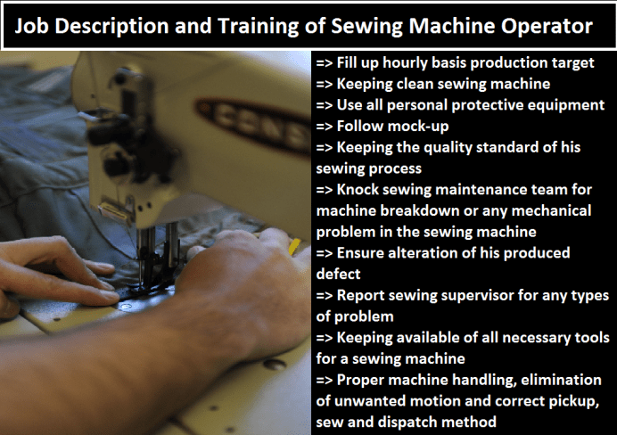 Job Description of a Sewing Operator, Responsibilities of sewing machine Operator, training of sewing machine operator