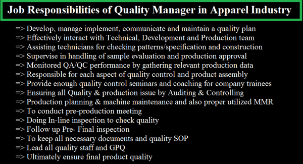 Job Responsibilities of Quality Manager in Apparel ...