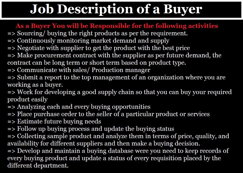 buyer job description  responsibilities of buyer