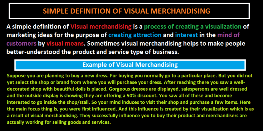 Definition of Visual Merchandising, Define Visual Merchandising, Visual Merchandising Meaning