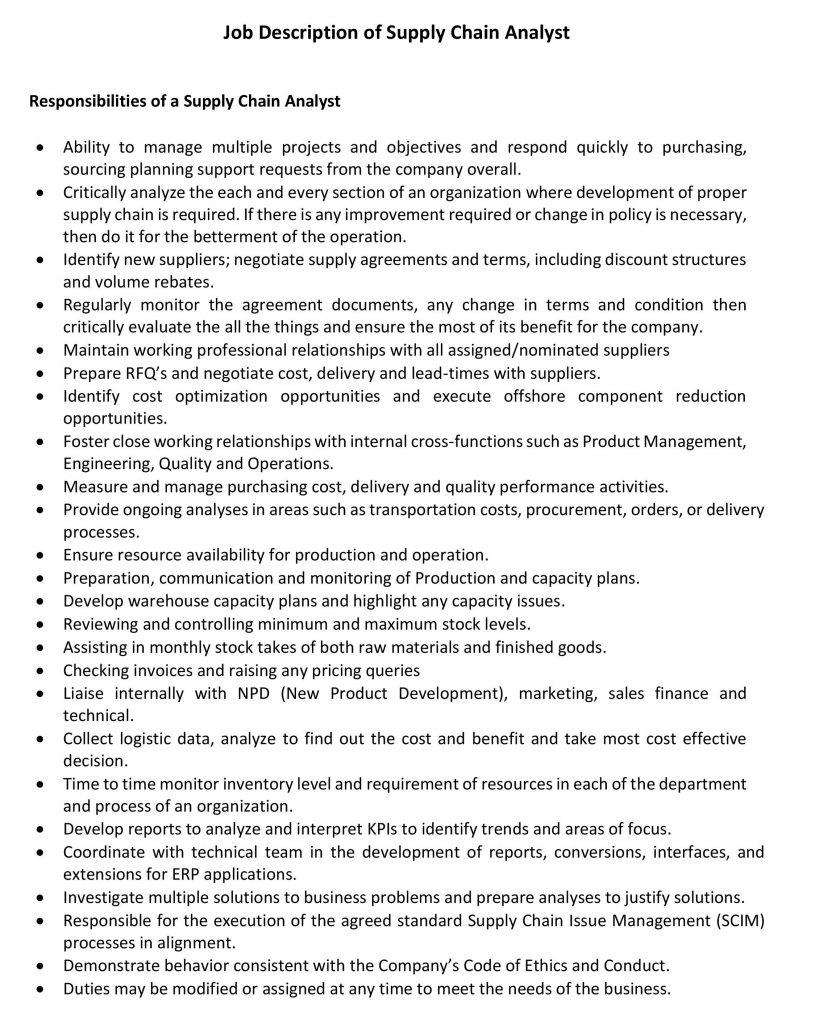 Job Description of Supply Chain Analyst