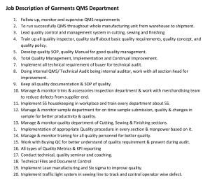QMS Department Job Responsibilities of Garments Industry