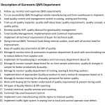 QMS Department Job Responsibilities of Garments Industry